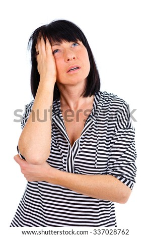 Terrible headache Suffering a Painful. Depressed mature women 40s years old, touching her head and looking-up, isolated on white background - stock photo