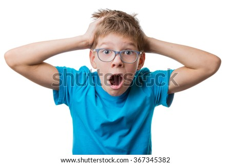 Terrified blond hair boy in glasses clutched at his head and screaming, isolated on white background - stock photo