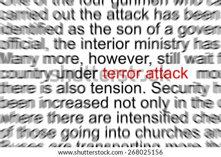 Terror Attack Written in a Newspaper  - stock photo