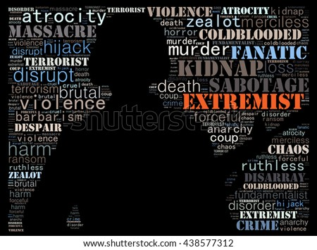Terrorism concept in word collage: black background - stock photo