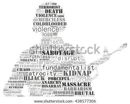 Terrorism concept in word collage: white background - stock photo