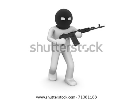 Terrorist. Character with automatic rifle. One of a 1000+ 3d characters series. - stock photo