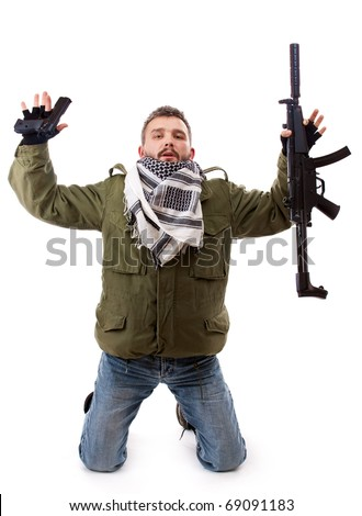 Terrorist give oneself up, isolated on white background - stock photo
