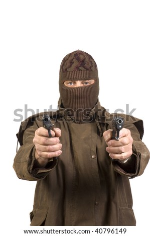 terrorist in mask with guns isolated on a white background - stock photo