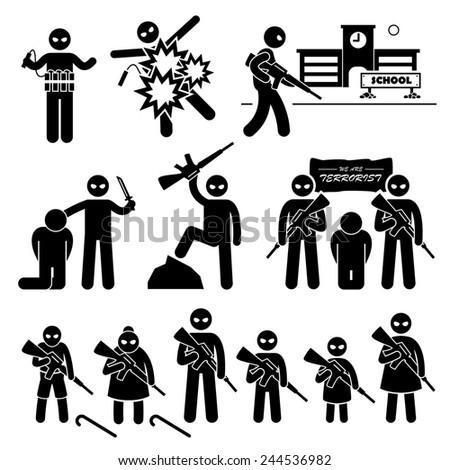 Terrorist Terrorism Suicide Bomber Stick Figure Pictogram Icons - stock photo