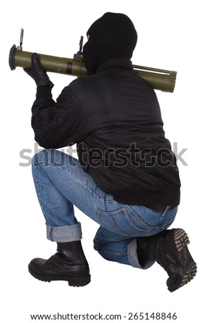 terrorist with bazooka grenade launcher isolated on white background