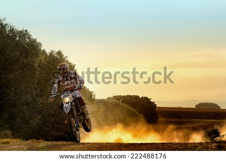 TERUEL, SPAIN - JUL 19 : Spanish rider Oriol Escale in a Husqvarna races in the XXXI Baja Spain, on Jul 19, 2014 in Teruel, Spain. - stock photo
