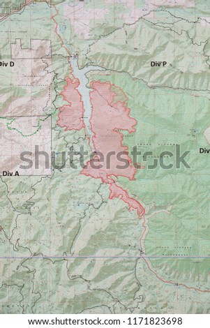 Terwilliger Fire Camp, OR, USA - August 30, 2018: Map detail of the Terwilliger Fire, currently burning more than 8000 acres of the Willamette National Forest in Oregon.