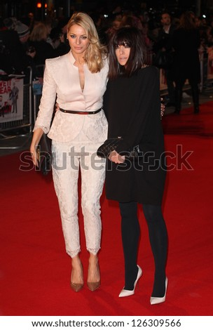 Tess Daly and Claudia Winkleman arriving for the 'I Give It A Year' premiere, at the Vue Leicester Square, London. 24/01/2013 Picture by: Alexandra Glen