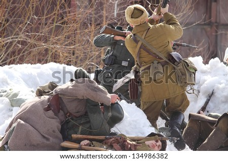 TESSOVO-NETYLSKI, RUSSIA - APR 07: Historical reenactment of the battles for the corridor supply the 2nd Shock Army (april-may 1942) on april 07, 2013 in Tessovo-Netylski, Novgorod region, Russia