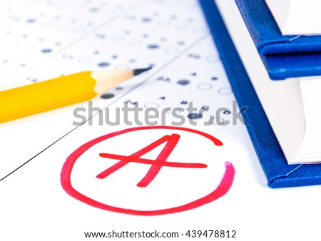 Test answer sheet with pencil. Examination test. Education concept - stock photo