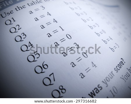Test answers - stock photo