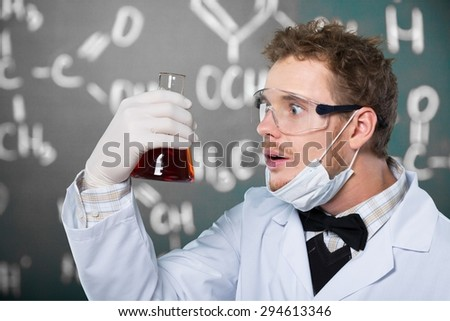 Test, experiment, vial. - stock photo
