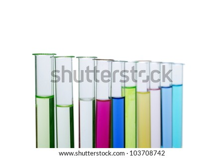 test-glass with liquid on white background - stock photo