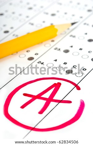 Test paper with result - stock photo
