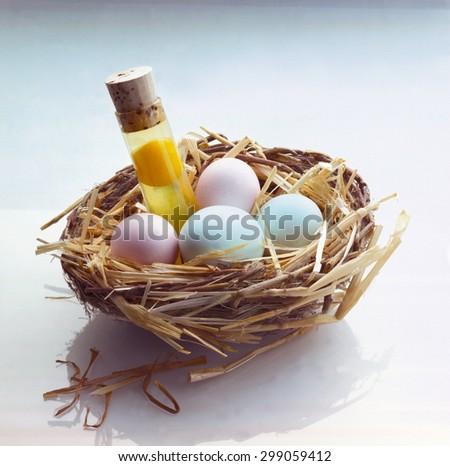 Test Tube Eggs In Nest, - stock photo