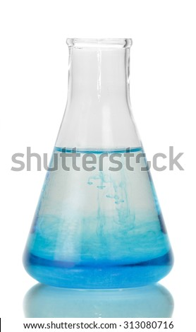Test-tube with blue liquid isolated on white background