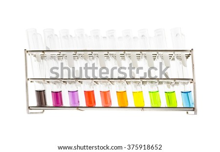test tube with color solution in rack
