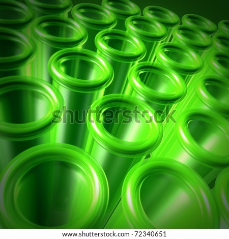 Test tubes as a science and medical research symbol represented by a green background of glass containers. - stock photo