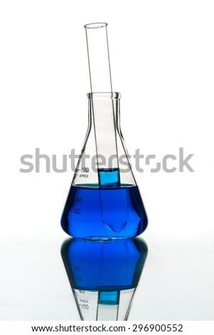 Test tubes blue liquid, Laboratory Glassware for chemical research - stock photo
