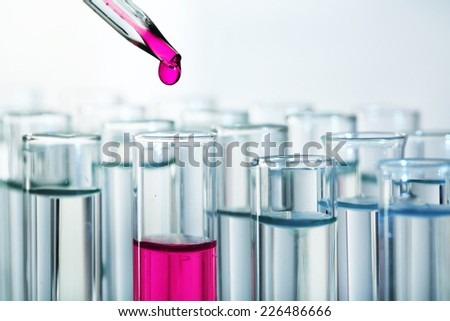 Test tubes close-up - stock photo