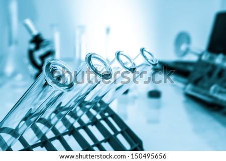 Test tubes closeup,medical glassware - stock photo
