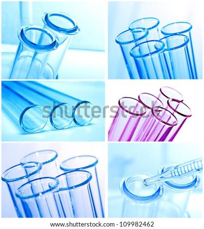 Test tubes closeup on blue background.. - stock photo