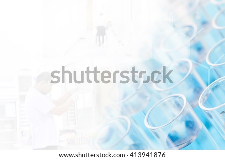 Test tubes closeup on blue background..medical glassware