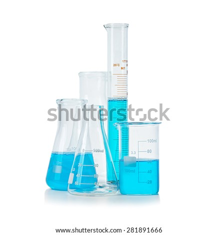 Test-tubes, flasks with blue liquid isolated on white - stock photo