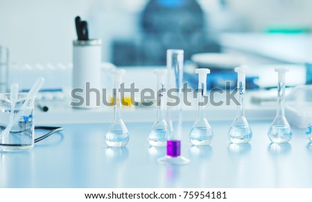 test tubes in bright modern new  labaratory - stock photo