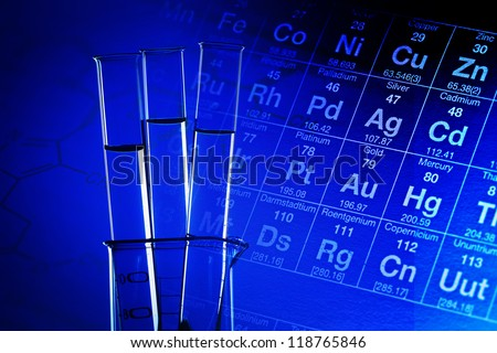 Test tubes in laboratory glassware. Science concept. - stock photo