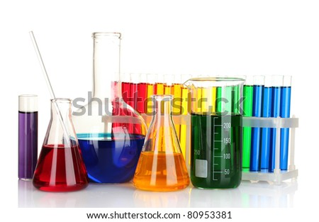 Test-tubes isolated on white - stock photo