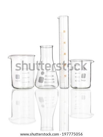 Test-tubes isolated on white. Laboratory glassware - stock photo