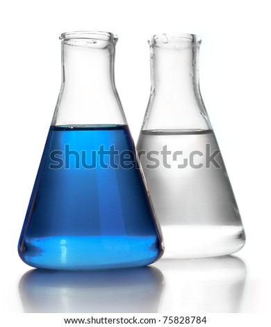 Test-tubes isolated on white. Laboratory glassware - stock photo