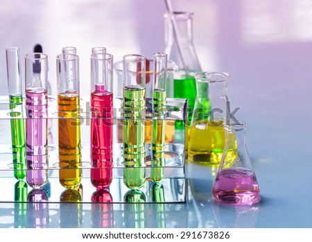 Test tubes ,Laboratory research. - stock photo