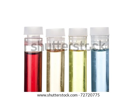 Test tubes with different liquids on a white background.