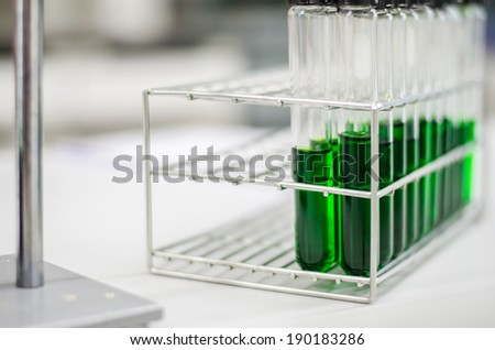 Test-tubes with green liquid. - stock photo