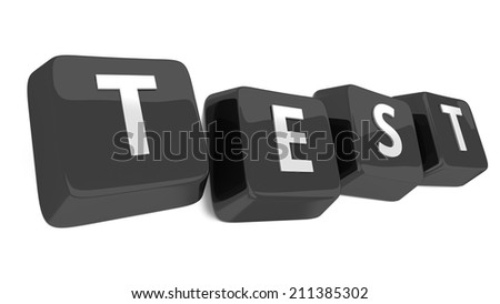TEST written in white on black computer keys. 3d illustration. Isolated background. - stock photo