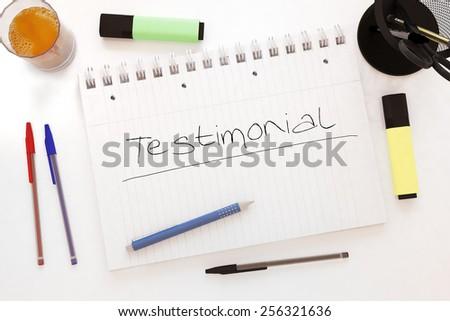 Testimonial - handwritten text in a notebook on a desk - 3d render illustration. - stock photo