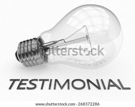 Testimonial - lightbulb on white background with text under it. 3d render illustration. - stock photo