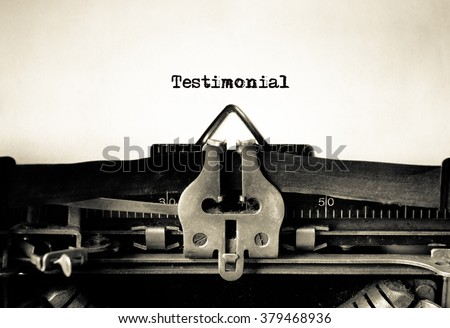 Testimonial message typed on vintage typewriter