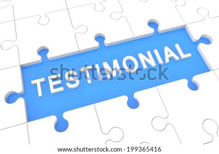 Testimonial - puzzle 3d render illustration with word on blue background - stock photo