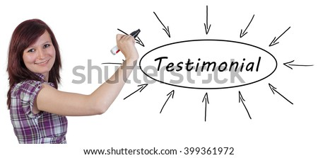 Testimonial - young businesswoman drawing information concept on whiteboard.  - stock photo