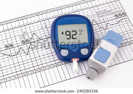Testing blood glucose level. Test for diabetes before pregnancy - stock photo