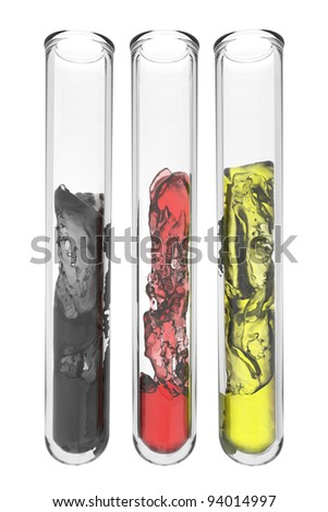 testtubes with abstract liquids in german national colors on white background