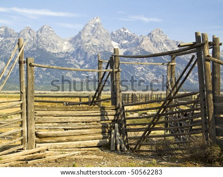 Teton Corral on Mormon Row, Grand Teton National Park, Wyoming - stock photo