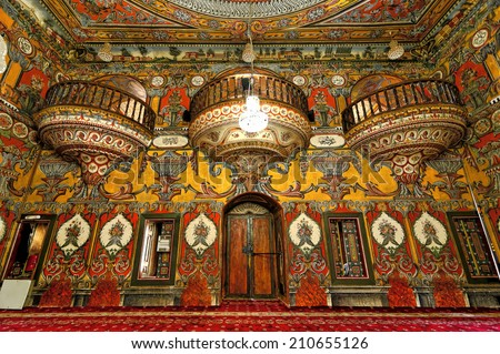 TETOVO-JUNE 12, 2014: Decorated Mosque  in Tetovo (Macedonia) is built in 1438. More than 30,000 eggs were used to prepare the paint and glaze that went into the elaborate decorations. - stock photo