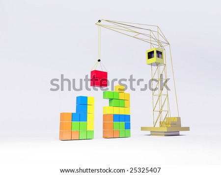 Tetris concept. White - stock photo