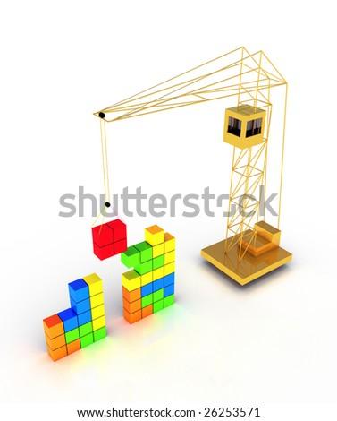 Tetris construction - stock photo