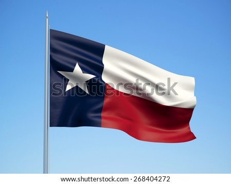 Texas 3d flag floating in the wind with a blue sky in the background - stock photo